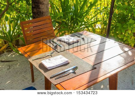 Tables and Chair in outdoor cafe restaurant