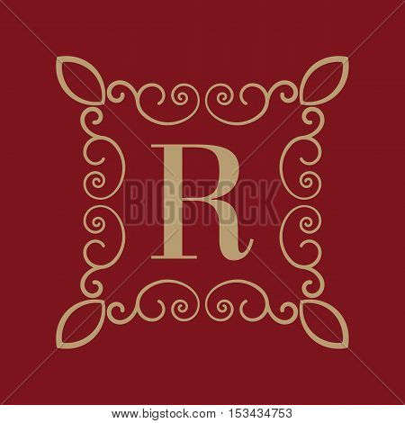 The Monogram letter R. Calligraphic ornament. Gold. Retro, Business and Vintage Concepts. Vector illustration