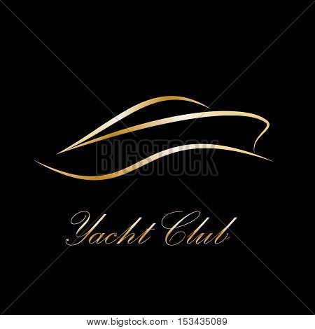 Vector sign yacht and boat, abstract shape, isolated black illustration