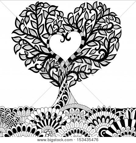 Flowers in heart shape on the ground line art design for coloring book for adult, tattoo, T- Shirt graphic, cards and so on