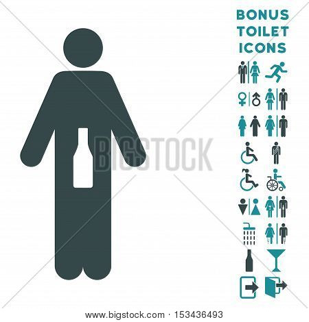 WC Man icon and bonus male and female lavatory symbols. Vector illustration style is flat iconic bicolor symbols, soft blue colors, white background.
