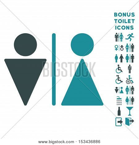 WC Persons icon and bonus male and female lavatory symbols. Vector illustration style is flat iconic bicolor symbols, soft blue colors, white background.