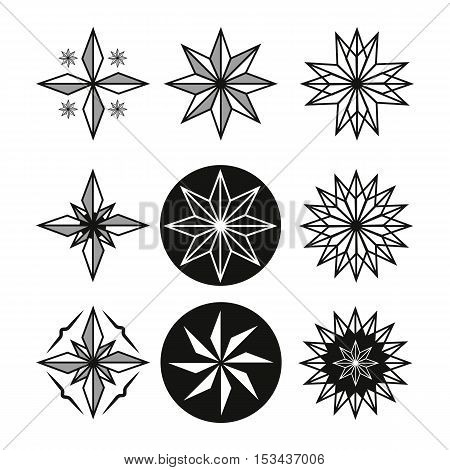 Star Tattoo Set. beautiful black and white drawing