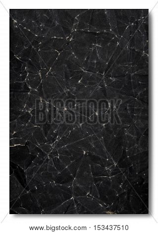 Crumpled Black Paper, isolated on white background