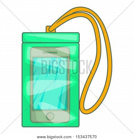 Waterproof phone case icon. Cartoon illustration of case vector icon for web design