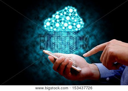 Cloud computing technology connectivity concept Businessman using mobile phone connect to cloud network.