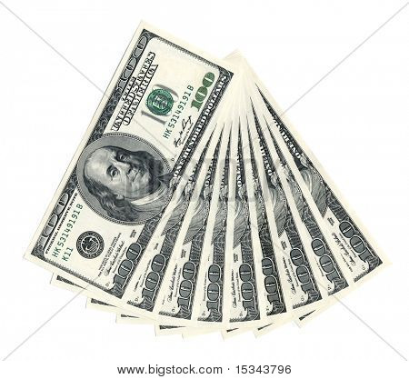 Photo of a $100 banknotes isolated on white