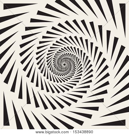 Vector Black and White Spiral Triangles Swirl Abstract Optical Illusion. Abstract Geometric Background Design