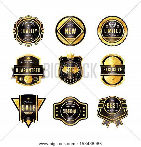 Gold metal badge collection vintage style isolated vector illustration. Quality guaranteed and exclusive badge. Exclusive sale golden badge. Golden badge set. Sale and quality badge. Golden icon of different badge. Badge icon collection. Gold sticker. Tag