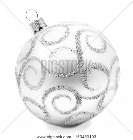 Perfect silver white christmas ball isolated on a white background