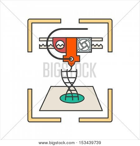 Vector 3D bio-printer Medical technology symbol Concept of future biological engineering. Flat design illustration isolated on white