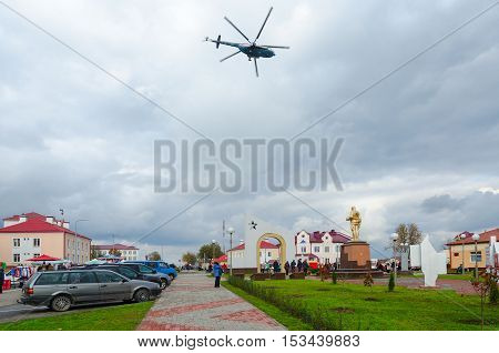 SENNO BELARUS - OCTOBER 8 2016: Unidentified people are strolling on central city square during traditional event