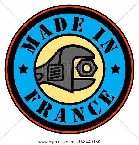 Made in France color stamp or label, vector illustration