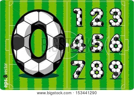 Football (soccer) vector set of numbers, goals scored in the match , from 1 to 0. Eps 8.