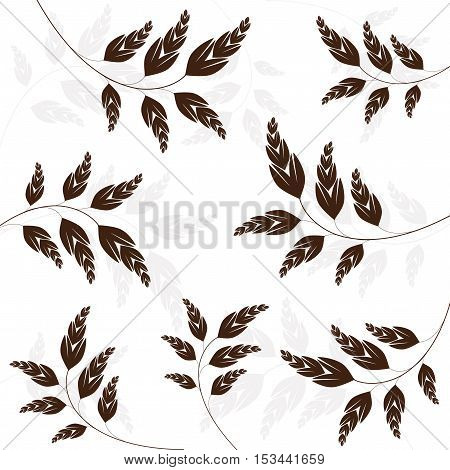 Vector textured - brown spikelets on white background - illustration