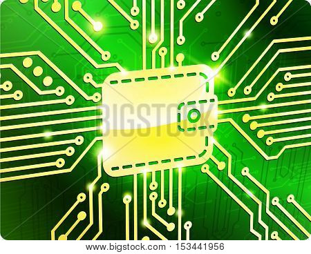 Wallet vector electronic board. The metaphor of e-commerce.