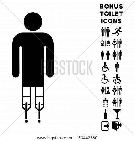 Man Crutches icon and bonus man and woman lavatory symbols. Vector illustration style is flat iconic symbols, black color, white background.