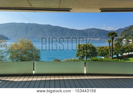 Architecture from Switzerland, terrace of a modern building