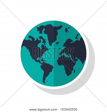 Planet icon. Earth world globe and continent theme. Isolated design. Vector illustration