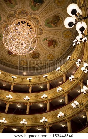 The lights of the beautiful theater chieti (Abruzzo, Italy)