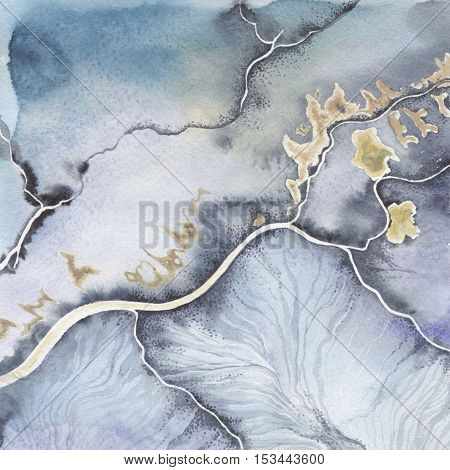 Abstract watercolor paper splash shapes isolated drawing. Abstract aquarelle for background, texture, wrapper pattern, frame or border.