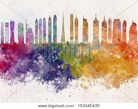 Dubai V2 skyline artistic abstract in watercolor background