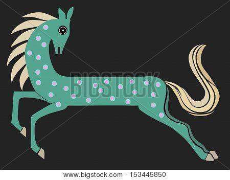 cartoon children's fantasy horse with green dappled