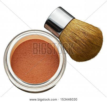 Glass Jar Of Cosmetics Foundation Powder