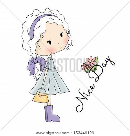 Doll Vector Illustration. Beautiful Little Girl with Bag in her Hands on white background