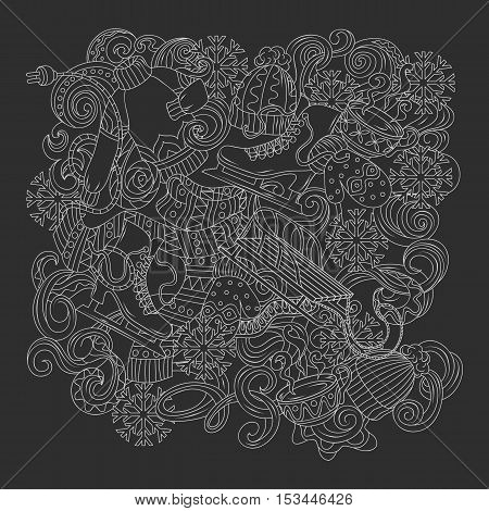 Cartoon cute doodles hand drawn Winter season frame design. black and white detailed, with lots of objects background, vector illustration