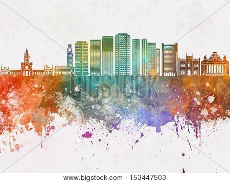 Rio de Janeiro V2 skyline in watercolor background