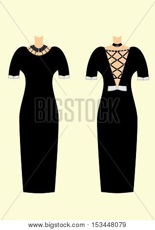 Fashion for woman two beautiful dresses vector illustration. Black and white.Original design