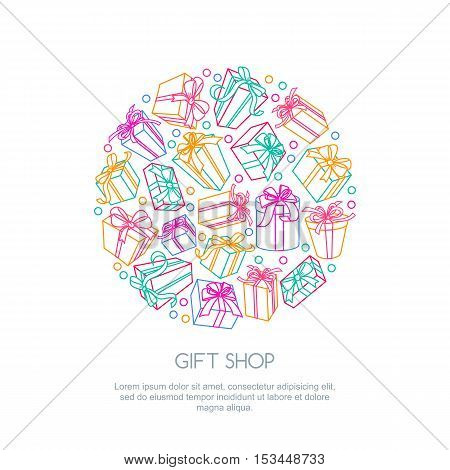 Set Of Vector Outline Gift Icons In Circle Shape. Multicolor Boxes With Ribbons, Isolated Illustrati