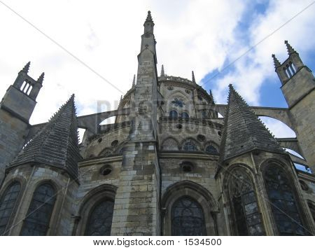 Saint Etienne Cathedral View Of The Back, Bourges, France