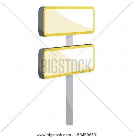 Road sign on pole icon. Cartoon illustration of road sign on pole vector icon for web
