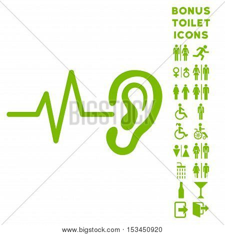 Listen Ear icon and bonus man and female lavatory symbols. Vector illustration style is flat iconic symbols, eco green color, white background.