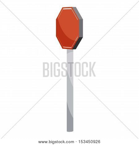 Road sign stop icon. Cartoon illustration of road sign stop vector icon for web