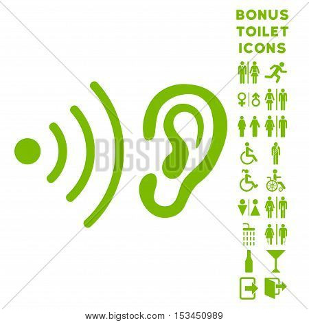 Listen News icon and bonus man and female lavatory symbols. Vector illustration style is flat iconic symbols, eco green color, white background.