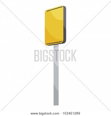 Road sign yellow square icon. Cartoon illustration of road sign yellow square vector icon for web