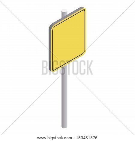 Road sign yellow square icon. Isometric 3d illustration of road sign yellow square vector icon for web