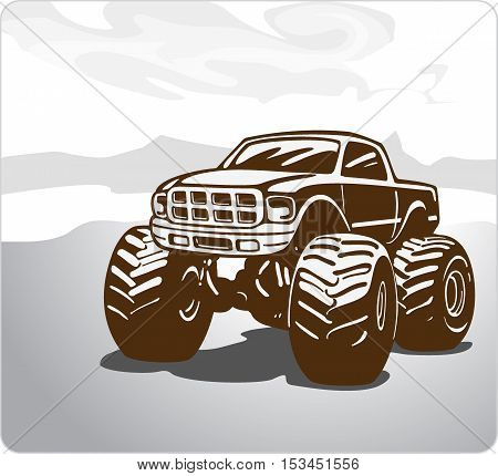 Monster Truck. Car pickup Bigfoot. vector eps8
