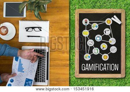Gamification Businessman Working At Office Desk And Using Computer And Objects,  Gamification Busine