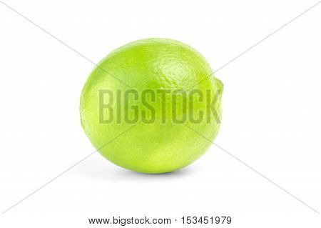 single lime  isolated on white background cutout