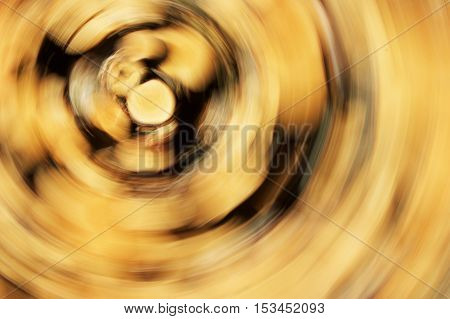 Birch logs in an exciting, whirling spin.