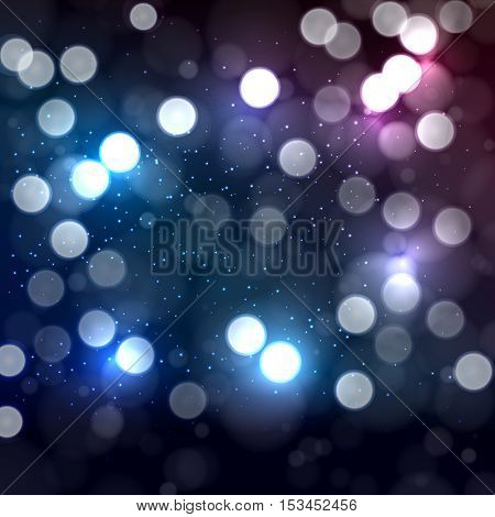 Blue and pink abstract background with bokeh defocused lights.