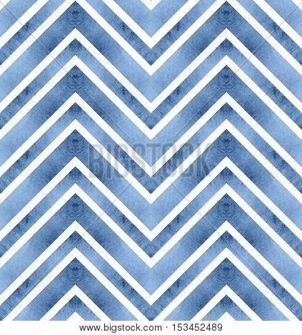 Seamless retro geometric pattern with zigzag lines. Blue chevron stripes. Watercolor background in riverside tint.