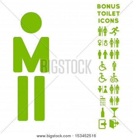 Man icon and bonus man and lady toilet symbols. Vector illustration style is flat iconic symbols, eco green color, white background.