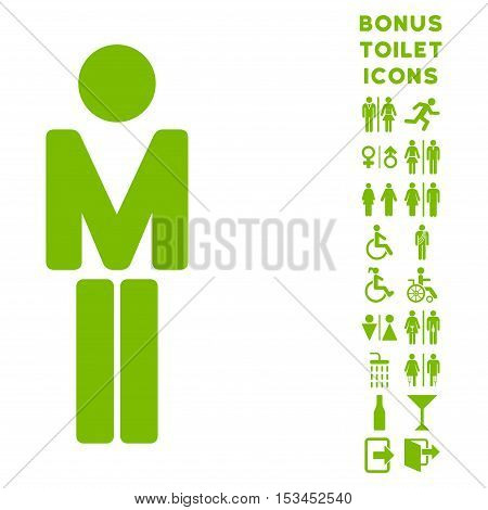 Man icon and bonus man and lady lavatory symbols. Vector illustration style is flat iconic symbols, eco green color, white background.