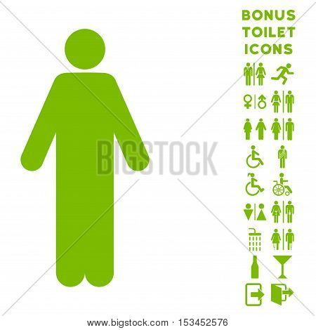 Man icon and bonus gentleman and female lavatory symbols. Vector illustration style is flat iconic symbols, eco green color, white background.