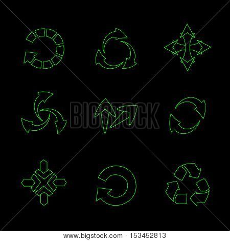 Vector set of green arrows on black background - illustration